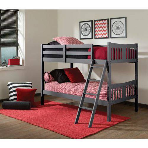 Storkcraft Caribou Twin Over Twin Solid Hardwood Bunk Bed Gray