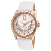 Women's White Genuine Leather Strap and Dial Rose-Tone Case Watch TLAPIDUS-643-A0512UAIFSM