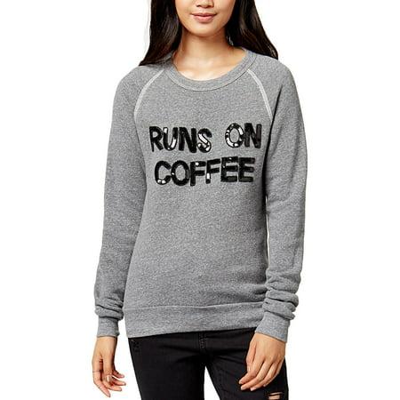 Bow & Drape Womens Juniors Runs On Coffee Embellished Slogan Sweatshirt