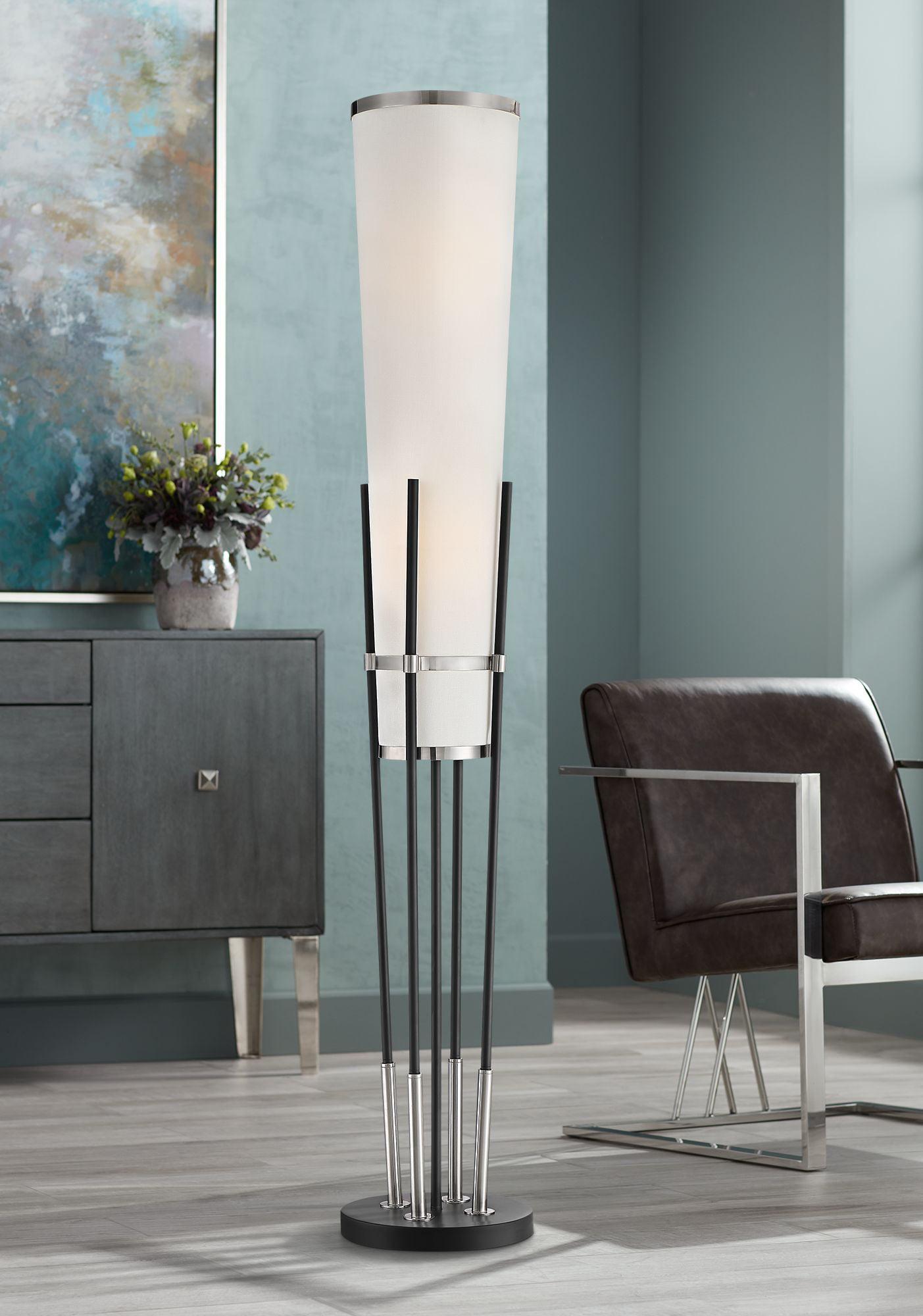 possini euro design modern torchiere floor lamp satin