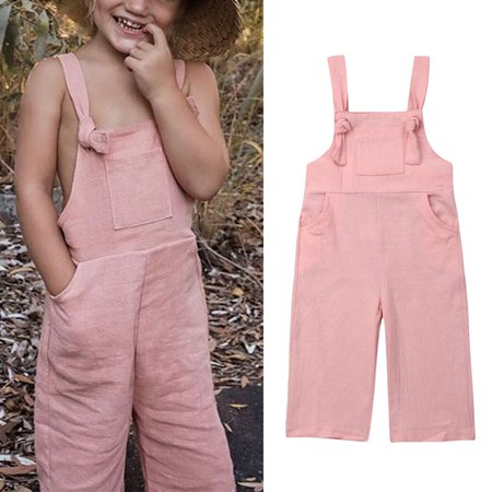 Toddler Kids Girl Boys Sleeveless Linen Jumpsuit Playsuit Dungaree Overalls Bib Pants Outfits Clothes