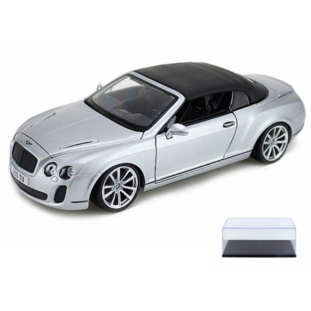 Diecast Car & Display Case Package - Bentley Continental Supersports Convertible with Top Up, Silver - Bburago 11037 - 1/18 scale Diecast Model Toy Car w/Display (Scalextric Continental Sports Cars Best Price)