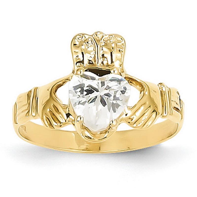 14k Gold April Claddaugh Ring