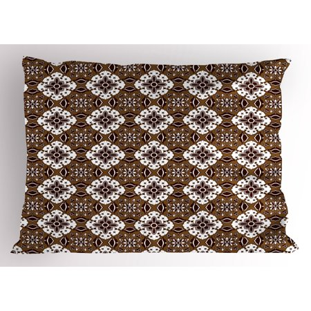 Chocolate Pillow Sham Brown Toned Ancestral Batik Pattern with Floral Indonesian Motifs, Decorative Standard Size Printed Pillowcase, 26 X 20 Inches, Dark Brown White Brown, by Ambesonne