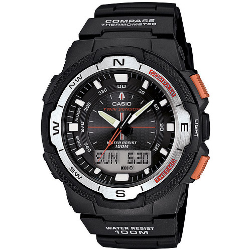 Casio Men's Twin Sensor Watch, Black Resin Strap