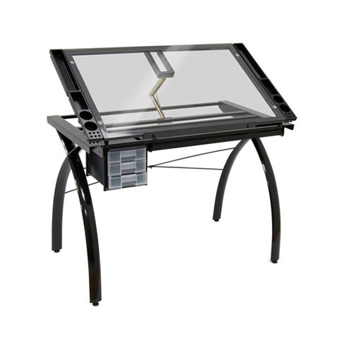 Studio Designs - Black/Clear Glass Futura Craft Station - 43 x 24 x 31.5 inches