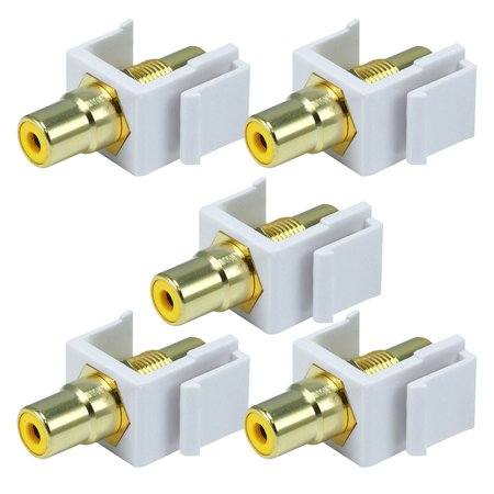 White Female RCA Keystone Jack Modular with Yellow Center for Wall Plates -