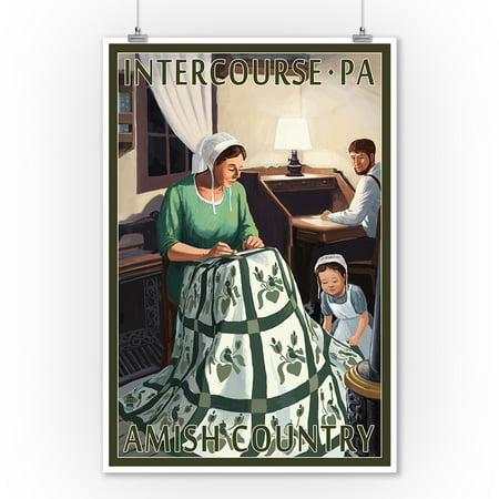 Intercourse, Pennsylvania - Amish Quilting Scene - Lantern Press Poster (9x12 Art Print, Wall Decor Travel Poster)