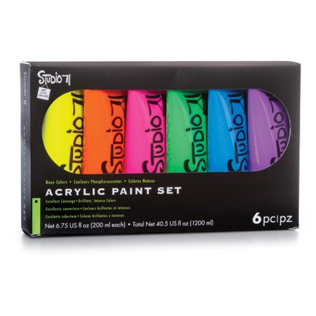 Studio 71 Neon Acrylic Paint Set: 200mL, 6 Pack - Neon Splatter Paint