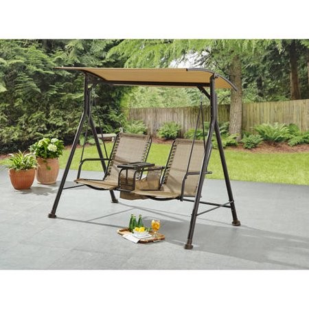 Mainstays Big and Tall 2-Person Bungee Canopy Porch Swing
