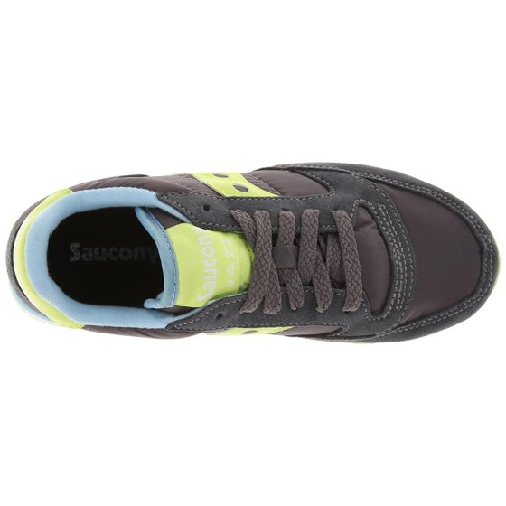 633a63ca1367 Suede fabric uppers with rubber sole. Saucony Originals Women s  Charcoal Light Green Jazz Original Fashion Sneaker 12M