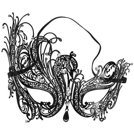 Women's Laser Cut Metal Venetian Masquerade Mask, Phoenix