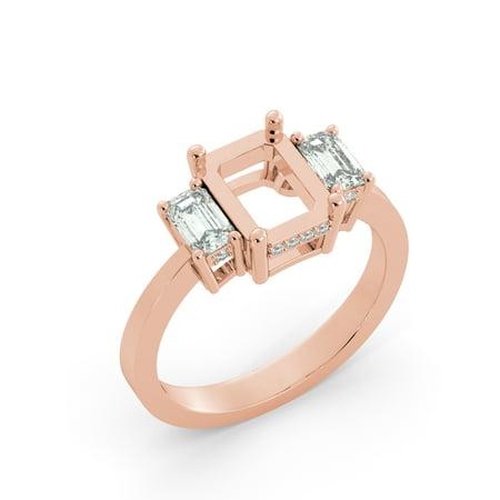 Emerald Semi Mount Ring - Emerald 3 Stone Diamond Semi Mount Bridal Round Engagement Ring 14k Rose Gold