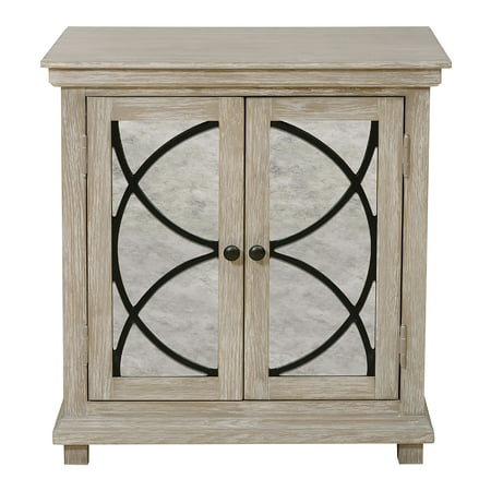 Two Door Mirror Front Accent Chest in Rustic Oak