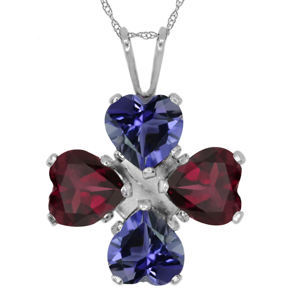 2.60 Ct Heart Shape Blue Iolite Red Rhodolite Garnet 925 Sterling Silver Pendant