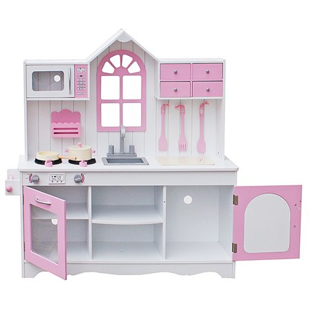 Kitchen Play Set for Girls, Kids Wood Kitchen Toy Cooking Pretend Play Set  for Boys, Pink Gift Wooden Playset with Kitchenware Toddler Kitchen Play ...