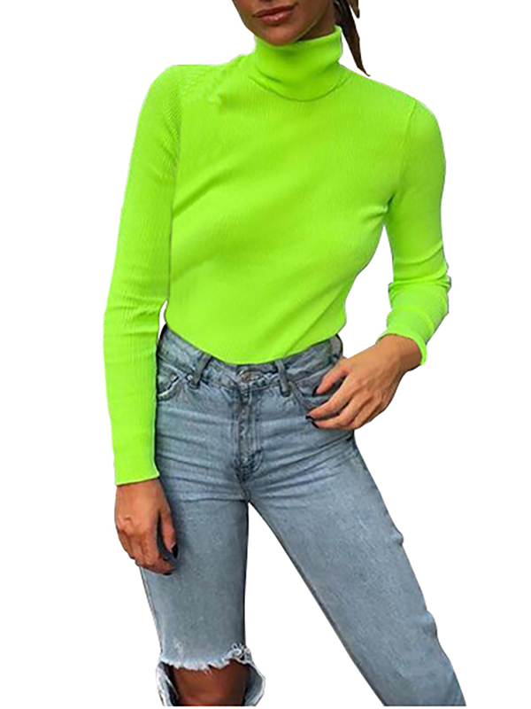 Lavaport Women Girls Turtleneck Solid Knitted Sweater Tops