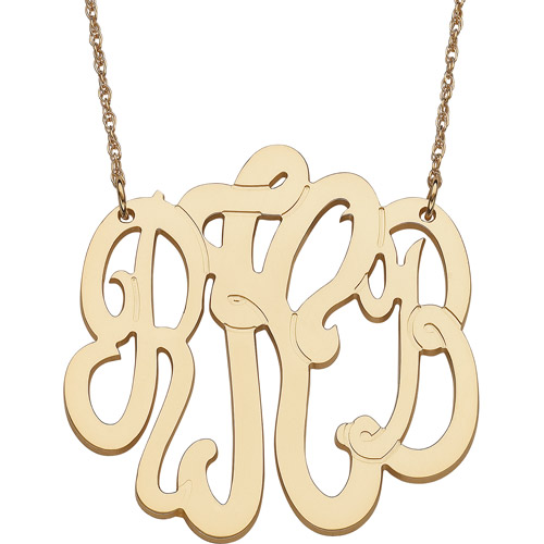 Personalized Gold over Sterling Silver 3-Initial Monogram Pendant