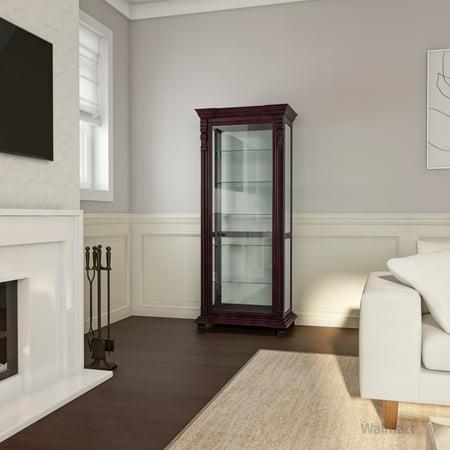 Furniture of America Tramel Traditional Curio Cabinet, Espresso Traditional Curio Cabinets