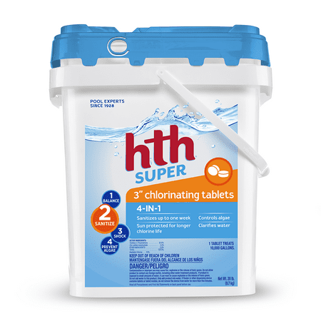 """hth super 3"""" chlorinating tablets, 20 lbs"""