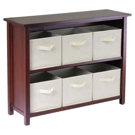 Winsome Milan Storage Shelf (Winsome Wood Verona Storage Shelf with 6 Foldable Fabric)