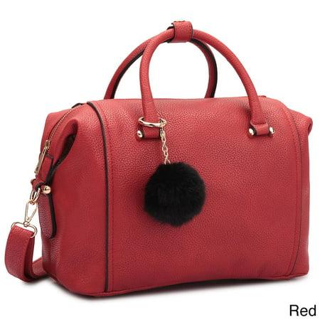 - Faux Leather Satchel Handbag with PomPom