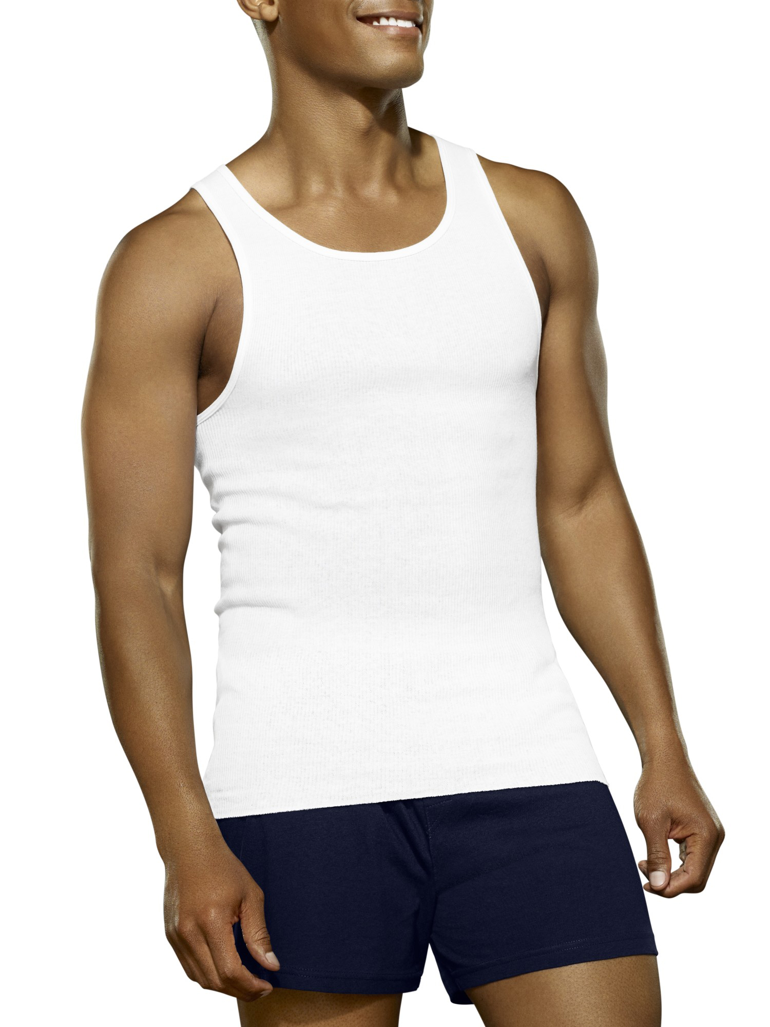 Big Men's Tag Free White A-Shirts Extended Sizes, 3 Pack