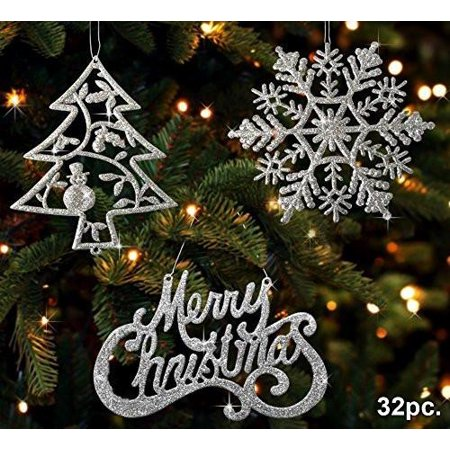 Christmas Ornaments Silver Trees Silver Snowflakes And Silver