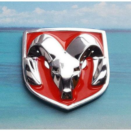 - Dodge Ram Hood Head Red Chrome Emblem Side Fender Badge Decal Sticker 2pcs
