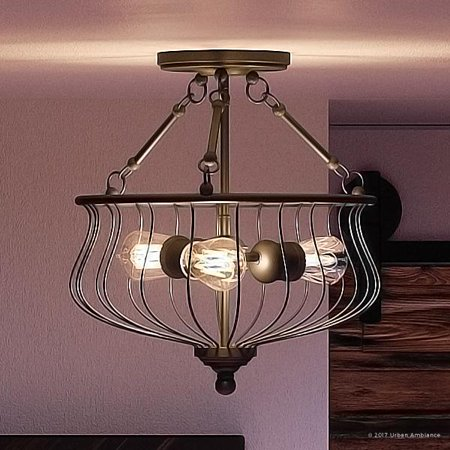 Tuscan Bronze Island (Urban Ambiance Luxury Industrial Semi-Flush Ceiling Light, Medium Size: 15.25