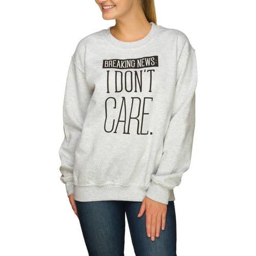 Juniors' Sarcastic Graphic Crewneck Pullover Sweater