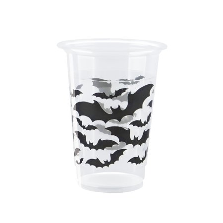 Unique Industries Black Bats Halloween Plastic Cups, 16oz, 8ct - Black Drinks For Halloween