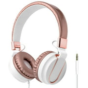 Art & Sound On-Ear Wired Headphones with Built-In Mic   Wired Headset with Foldable Headphones - Rose Gold