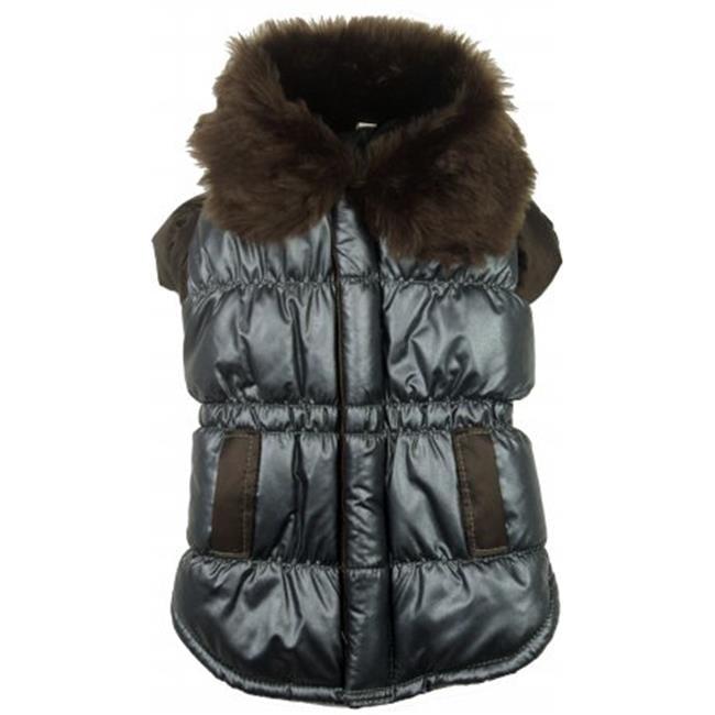 Brown Ultra Synthetic Fur Collar Metallic Jacket - XS