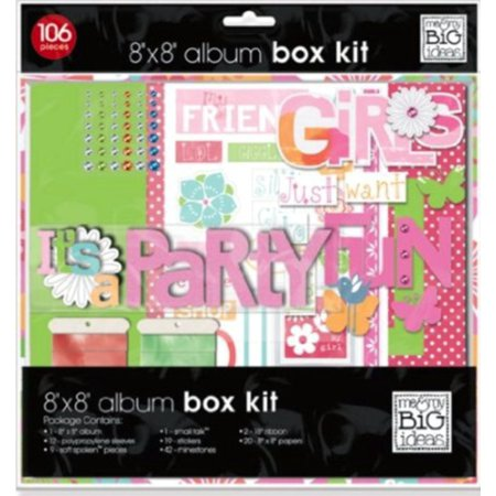 Girls Just Want to Have Fun 8 x 8 inch Scrapbook Box Kit - Baby Girl Scrapbook Ideas