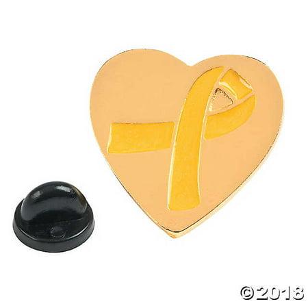 Gold Awareness Ribbon Heart Pins