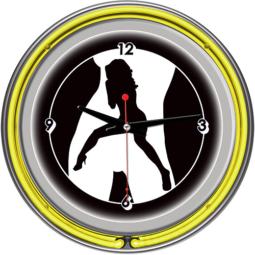 "Shadow Babes, C Series Yellow 14"" Neon Wall Clock"