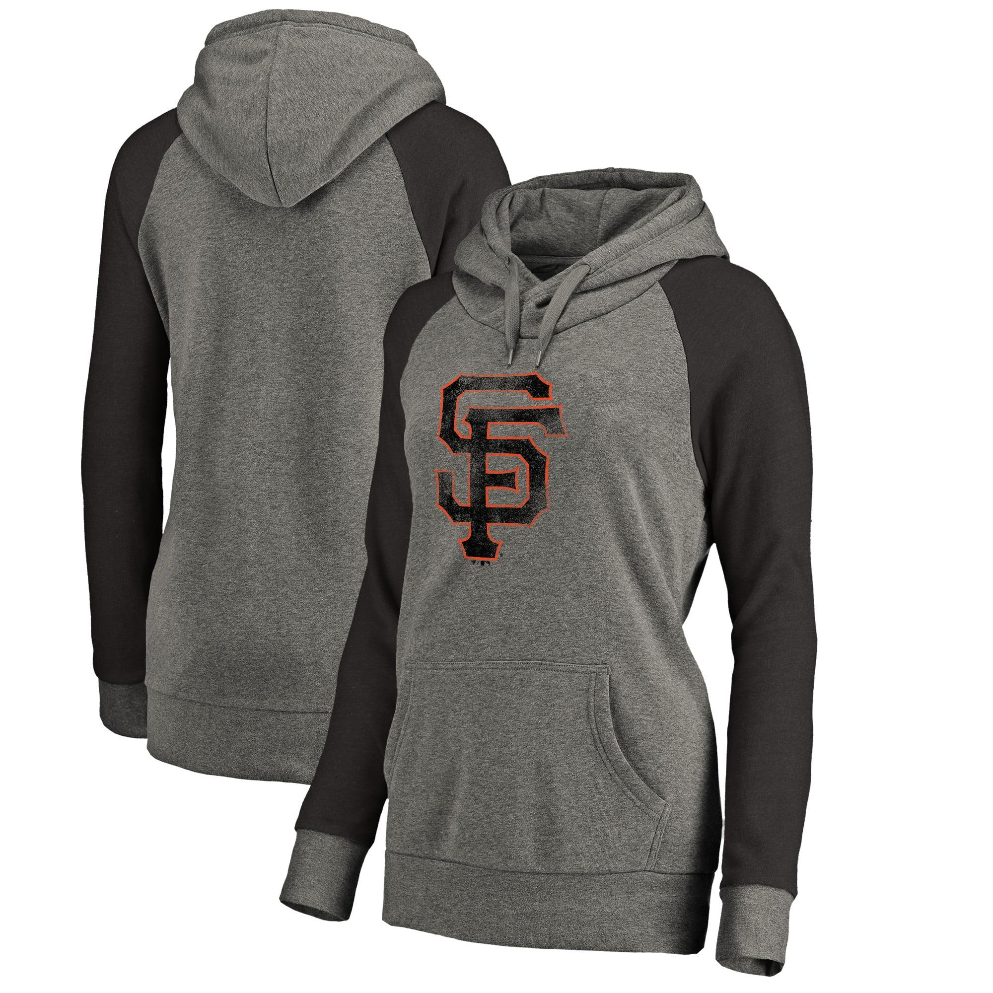 San Francisco Giants Fanatics Branded Women's Distressed Team Logo Tri-Blend Raglan Pullover Hoodie - Gray/Black