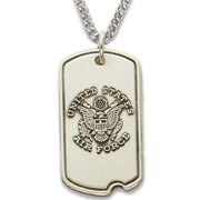 .925 Sterling Silver U.S. Air Force Dog Tag with cross crucifix on Military Protection Medal Patron Saint St. Philippians Prayer Religious Comes with a 24'' Chain Necklace in a velvet gift-ready box