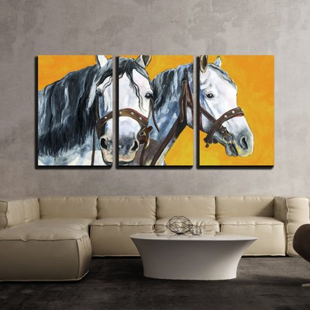 Portrait Framed Painting (wall26 - 3 Piece Canvas Wall Art - Shire Horses Portrait Painting - Modern Home Decor Stretched and Framed Ready to Hang - 24