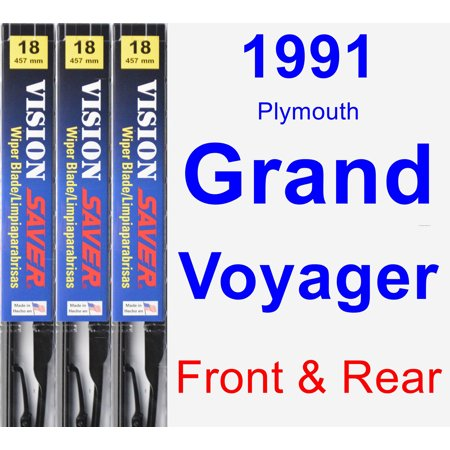 Plymouth Grand Voyager Rear Wiper (1991 Plymouth Grand Voyager Wiper Blade Set/Kit (Front & Rear) (3 Blades) - Vision Saver)