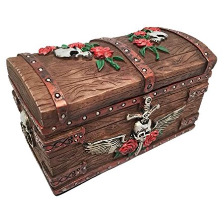 Time Waits For No Man Pirate Skull With Pierced Dagger Small Jewelry Box Treasure Chest