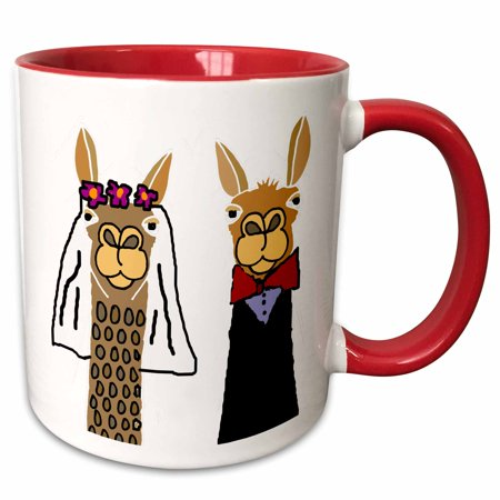 3dRose Funny Cute Llama Bride and Groom Wedding Art - Two Tone Red Mug, (Funny Wedding Wishes For Bride And Groom)