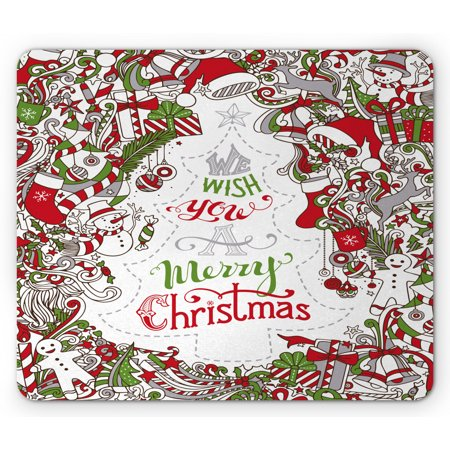 Halloween You Fraidy Mouse (Christmas Mouse Pad, We Wish You a Merry Christmas Hand Written Greeting Snowman Santa Sock Hat Beard, Rectangle Non-Slip Rubber Mousepad, Multicolor, by)