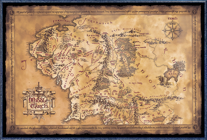 "The Hobbit   The Lord Of The Rings Map Of Middle Earth Movie Poster (Limited Dark   Sepia Edition) (Size: 36"" x... by"