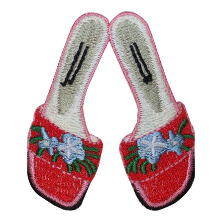ID 1816 Women's Floral Flats Patch Sandal Shoes Embroidered Iron On Applique ()