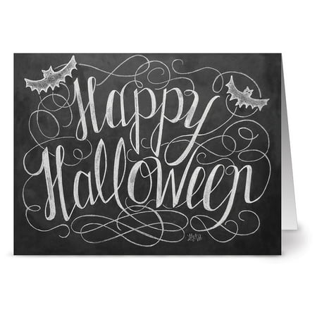 24 Chalkboard Note Cards - Happy Halloween - Blank Cards - Kraft Envelopes Included