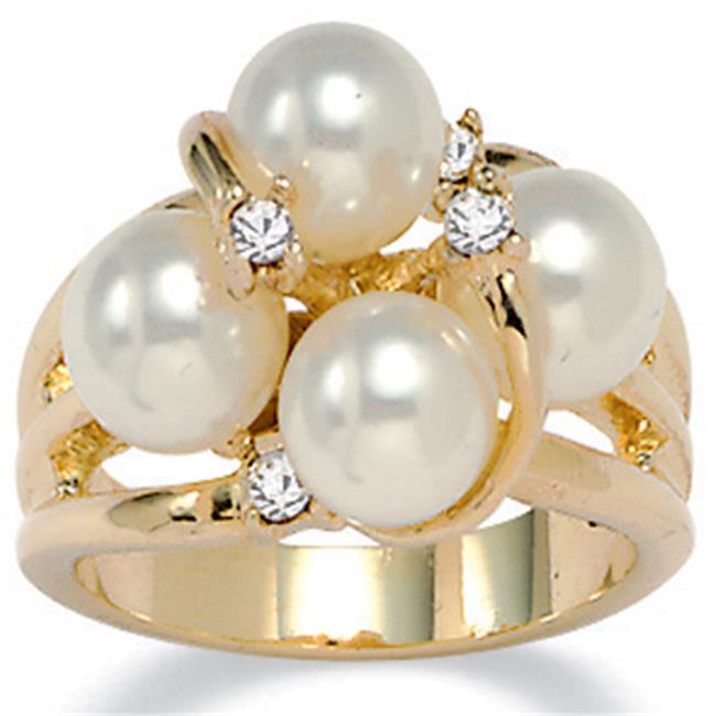 PalmBeach Jewelry 154556 Round Simulated Pearl Austrian Crystal Accent 14k Yellow Gold-Plated Ring - Size 6