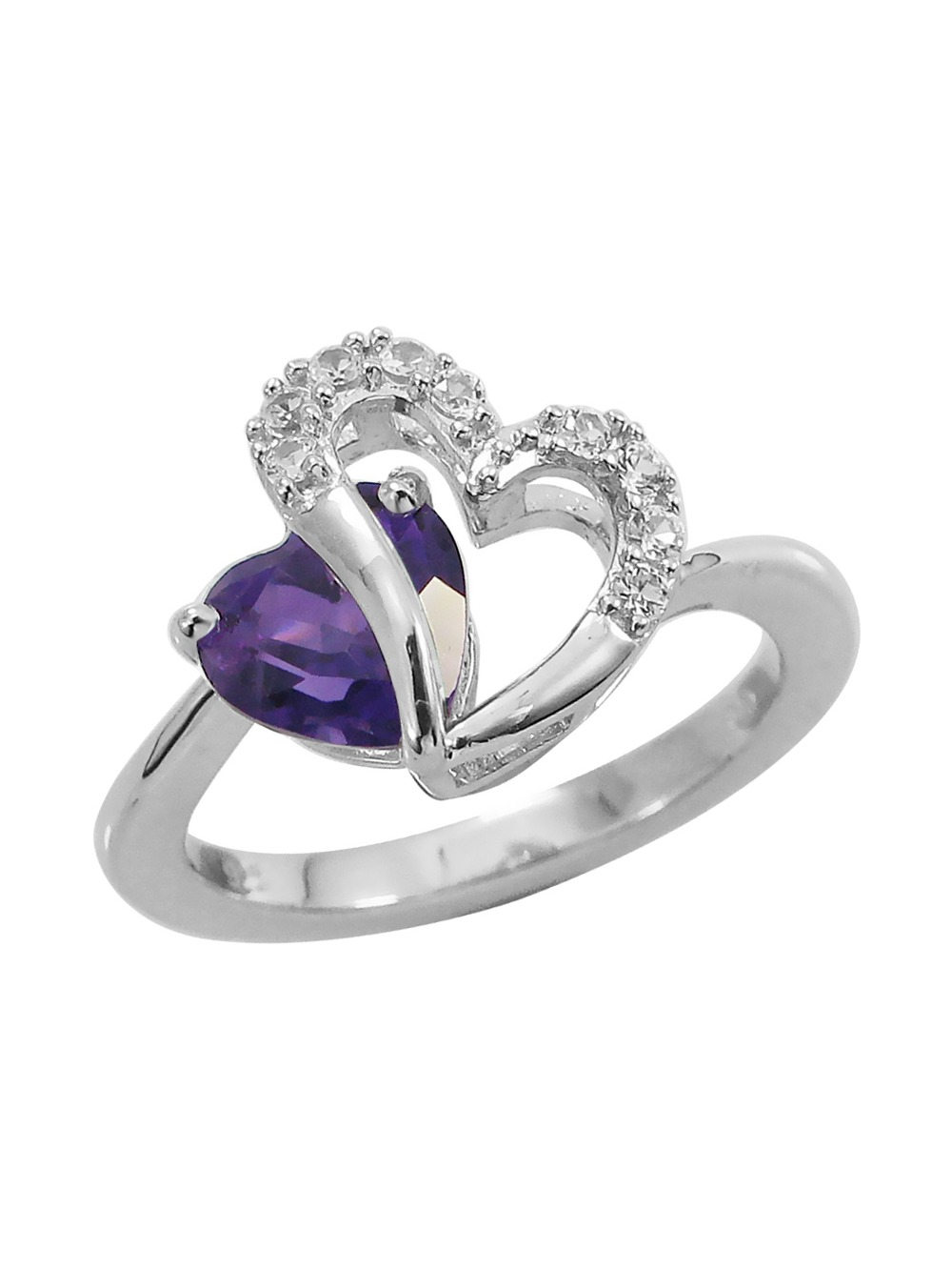 Amethyst and Created White Sapphire Two Hearts Ring in Sterling Silver