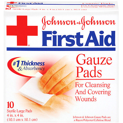 BAND-AID First Aid Large Gauze Pads, 4 in x 4 in, 10 Each